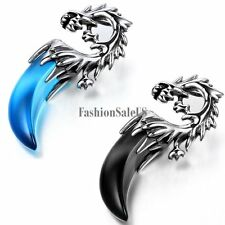 Tribal Stainless Steel Resin Dragon Wolf Teeth Pendant  Men's Necklace Chain