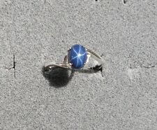8X6mm 1.5+ CT LINDE LINDY CRNFLWR BLUE STAR SAPPHIRE CREATED SECOND RING .925 SS