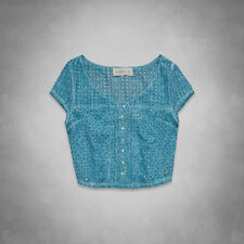 Abercrombie & Fitch Harper Top Womens Blue Eyelet Lace Cropped Shirt New NWT