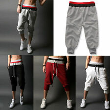 Casual Men's 3/ 4 Knee Jogger Sport Shorts Baggy Gym Harem Rope Trousers