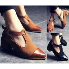 New Womens Cut Out Ankle Strap Sexy Pointy Toe Oxfords Chunky Mid Heels Shoes