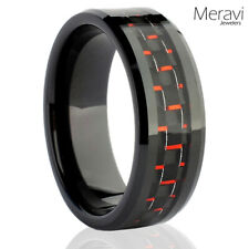 Black Tungsten Carbide Men's Jewelry Red Carbon Fiber Wedding Band Promise Ring