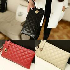 Women Girls Synthetic Leather Clutch Wallet Card Holder Purse Handbag Quilted