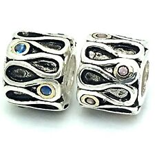 New Sterling Silver 925 Gold/P Side Swirls CZ Charm Bead Colour Options