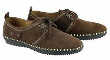 Mens Faux Suede Leather Brown Smart Lace up Round Toe Rubber Sole Shoes