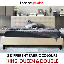TOMMY SWISS: PREMIUM King, Queen & Double Fabric Upholstered Button Bed Frame