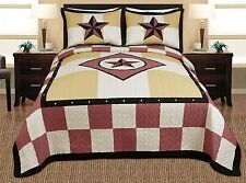 3-piece Western Lone Star Barb Wire Cabin / Lodge Quilt Bedspread Coverlet Set