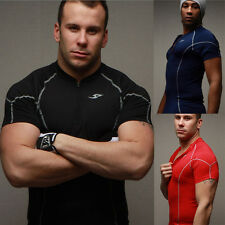 New Mens Sports T-Shirts Compression Wear Under Pro Base Layer Short Sleeve Tops
