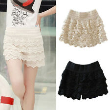 Fashion Sexy Mini Lace Crochet Tiered Short Skirt Under Safety Pants Shorts