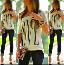 Sexy Womens Short Sleeve Loose White T Shirt Summer Casual Lover Tops Blouse TM