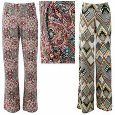 LADIES WOMEN NEON AZTEC PRINT PALAZZO FLARED LEG TROUSERS 8 10 12 14