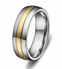 6mm Titanium Ring Wedding Engagement Band Gold Strap Grooved Center Mens Jewelry