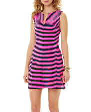 NWT $188 - LILLY PULITZER Brielle Fit & Flare Dress, Hotty Pink, Ottoman Stripe