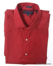 Tommy Hilfiger Mens Regular Fit Solid Red Dress Shirt Long Sleeved Button Down