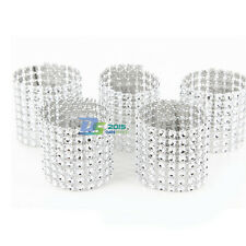 Pack of 10 Rhinestone Bling Napkin Rings 8 Row Wedding Party Anniversary Decor