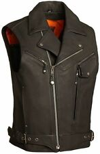 Bikers MC Vest Punk Goth Bikers Cowhide Leather Reckless Outlaw