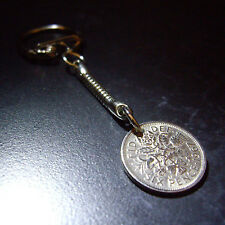 FOR FATHERS DAY 50th / 1965 Birthday 6d Sixpence Keyring OR Select your year