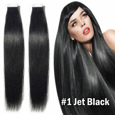 20PCS PU Seamless Skin Tape in Weft Remy Human Hair Extensions #01 Jet Black