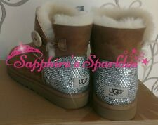 Girls Customised Crystal Chestnut Mini Bailey Button Ugg Boots Size 12 13 1 2 3