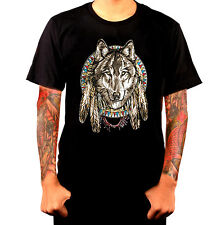 DREAM CATCHER WOLF SPIRIT Shirt Feathers Colorful Dream on Black T Shirt