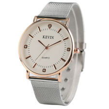 Kevin Stainless Steel Web/ Leather Band Fashion Quartz Wrist Watch Mens Womens