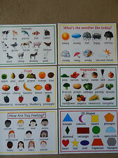 Early Learning A4 Posters -SHAPES/ COLOURS/NUMBERS/FRUIT/EMOTIONS/WEATHER - EYFS