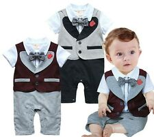 3-24 Months Baby Boy Tuxedo All-in-one Infant Toddler Romper Onesie, 2 Colors