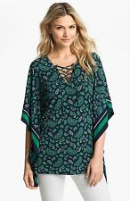 NWT - MICHAEL KORS Women's Paisley Lace-Up Tunic, Iris and Green, MSRP $110