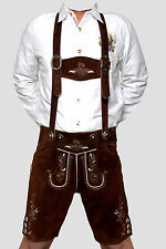 Genuine Suede Bavarian Short Length Lederhosen  Dark Brown 32,34,36,38,40