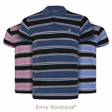 MENS THICK CONTRAST STRIPE POLO T SHIRT COLLARED SUMMER SHORT SLEEVE TOP S-XXL