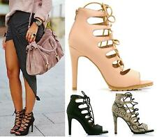 WOMENS HIGH HEELS STILETTOS LADIES LACE UP GLADIATOR PEEP TOE SANDALS SHOES SIZE