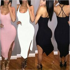 Women Sexy Bodycon Strap Cross Plunge Backless Slit Wiggle Clubwear Party Dress