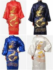 Hot Man's Embroidery Dragon satin Kimono Robe Gown Bathrobe sleepwear