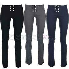 BLACK TROUSERS 6 BUTTON LADIES GIRLS SCHOOL UNIFORM TROUSERS 9-16 Navy Grey