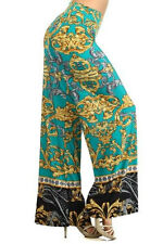 New Palazzo Pants Bohemian High Waist Fold Over Wide Leg Paisley - Golden Vibes