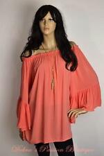 ELAN  RUFFLE BELL SLEEVE OFF SHOULDER TUNIC TOP  One Size-MELON