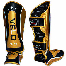 VELO Leather Gel Shin Guards Instep Pads MMA Leg Foot Muay Thai Kick Boxing V4GL