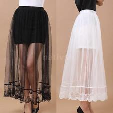 Vintage Womens Ladies Sheer Mesh Skirt Elastic Waist Lining Maxi Skirt 2 Colors