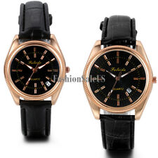 Men's Women's Couples Classic Casual Wrist Watch With Date Leather Band For Gift