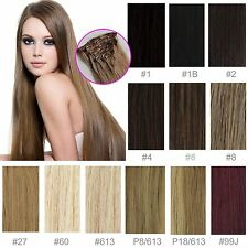 """Full Head Straight Weft Human Hair Remy Hair Weave Extensions 15""""-24"""" Clip In"""