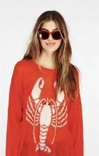 $198 NWT Wildfox Couture White Label Lobster Lenon Sweater RED XS S M