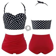 Retro Rockabilly Polka Dot High Waisted 50s Style Bikini Swimsuit Asian S/M/L J