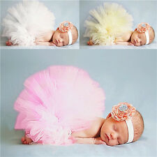 Newborn Tutu Clothes Skirt Flower Headband Baby Girls Infant Photo Prop Outfits