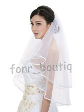Ivory or White 2T Wedding Bridal Veil Stain Edge with Comb Cathedral Long