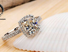 True 925 Sterling Silver Created Diamond Ring Wedding Engagement Ring Elegant