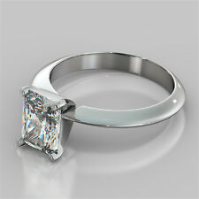 Radiant Cut Solitaire Engagement Ring 14K White Gold - Available Matching Band