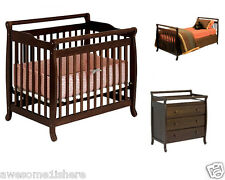 Mini Crib Twin Bed 3 Drawer Changer Convertible Complete Set Baby Furniture Rail