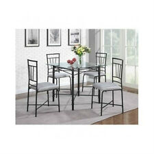 5 PIECE DINING SET GLASS TOP TABLE AND CHAIRS KITCHEN DINING ROOM FURNITURE NEW