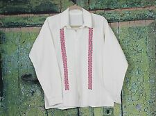 Blue & Red Men's Guayabera Shirt Hand Embroidered from Ejutla Oaxaca Mexico