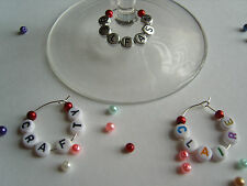 1 6 12 or 25 Personalised Wine Glass Charms with Pearls - Hen Wedding Favours